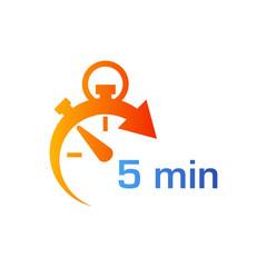 Icono plano cronometro con 5 min en azul y naranja