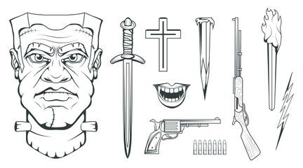 Monster created by Victor Frankenstein. Happy Halloween. Hand drawn Frankenstein Head. Monster concept. Vector artwork