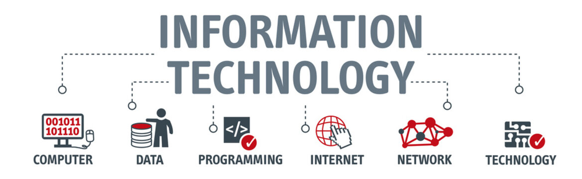 Banner information technology vector illustration concept wit icons
