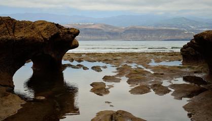 Beautiful coast landscape, reefs and low tide, coast of Las Palmas, Gran Canaria, Spain