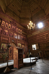 interior of an old wooden Orthodox church.