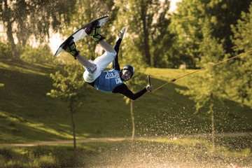 Wakeboarder at a water ski facility.