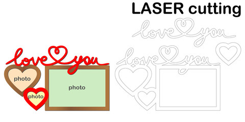Frame for photos with inscription 'Love you' for laser cutting. Collage of photo frames. Template laser cutting machine for wood and metal. The perfect gift for St. Valentine's Day.
