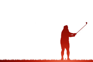 silhouette golfer playing golf on white background.