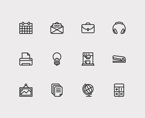 Office icons set. Printer and office icons with case, headphone and lightbulb. Set of painting for web app logo UI design.