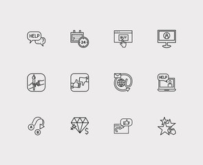 Support icons set. 24/7 and support icons with review, ecommerce and chat. Set of discussion for web app logo UI design.