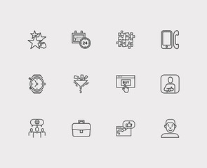 Customer service icons set. 24/7 and customer service icons with business, phone and recommend. Set of review for web app logo UI design.