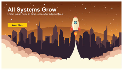 Simple Rocket Icon, Responsive web design flat vector, web design technology, including laptop, desktop, tablet and mobile phone