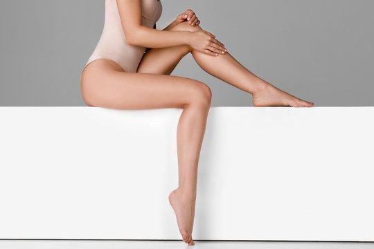 beautiful woman with slim legs