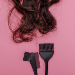 brush for dyeing hair and hair