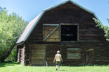rear view of a middle aged Caucasian woman walking toward a large antique barn with an open hayloft on a sunny summer day