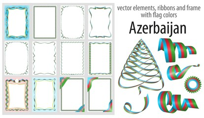 vector elements, ribbons and frames with flag colors Azerbaijan, template for your certificate and diploma