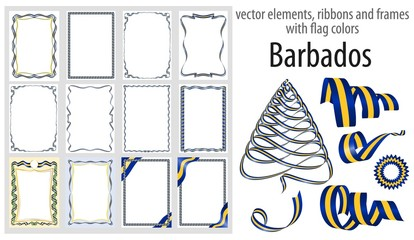 vector elements, ribbons and frames with flag colors Barbados, template for your certificate and diploma