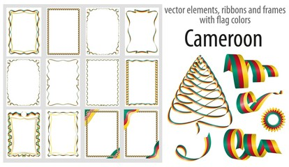 vector elements, ribbons and frames with flag colors Cameroon, template for your certificate and diploma