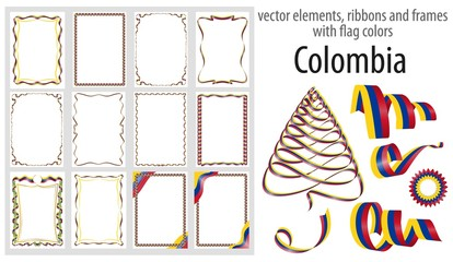 vector elements, ribbons and frames with flag colors Colombia, template for your certificate and diploma