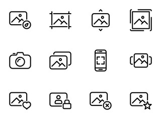 Set of black vector icons, isolated on white background, on theme Photography and social interaction. Restricting access to private data