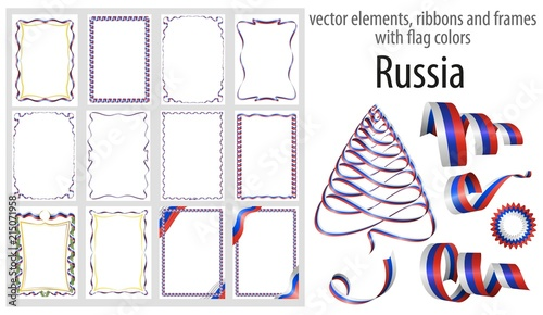 Vector Elements Ribbons And Frames With Flag Colors Russia