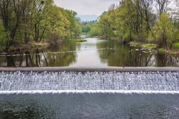 River Ostravice in Przno, small town in Czech Republic