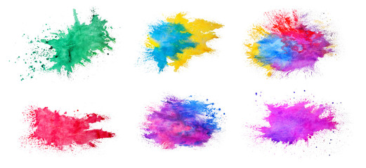Set of watercolor splashes on white background. Celebration of Holi festival