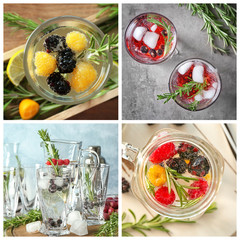 Set of different refreshing drinks with rosemary