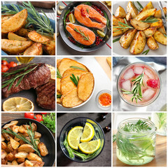 Set of different refreshing drinks and food with rosemary