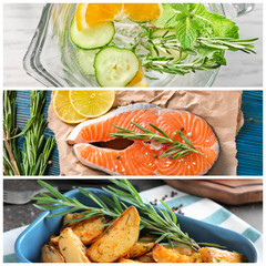 Set of food and refreshing drink with rosemary
