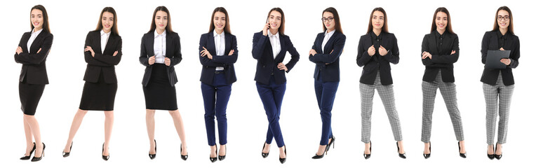 Set with young woman in stylish suits on white background