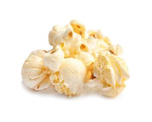 Tasty fresh popcorn on white background, closeup