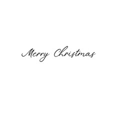 Merry Christmas. Holiday calligraphy. Handwritten brush lettering for greeting card, poster, invitation, banner. Hand drawn card template. Isolated on white background.