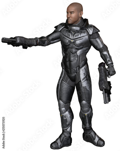 """Future Soldier, Black Male, Sideways Shot - science fiction illustration"" Stock photo and royalty-free images on Fotolia.com - Pic 215073920"