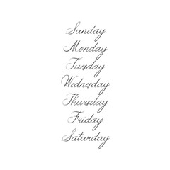 Handwritten Days of Week. Sunday, Monday, Tuesday, Wednesday, Thursday, Friday, Saturday. Modern Calligraphy. Isolated on White Background. Hand lettering calendar