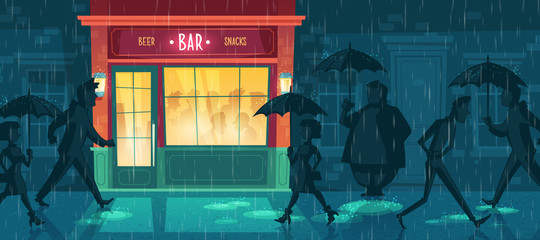 Vector cartoon illustration with bar at bad weather. Exterior of night cafe with some people inside, others walking down street under umbrellas in rain. Background with beerhouse, fast food restaurant
