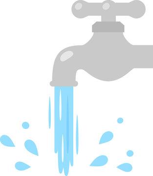 蛇口から勢いよく流れる水