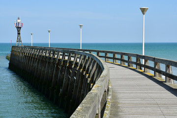 Courseulles sur Mer, France - april 22 2018 : pier