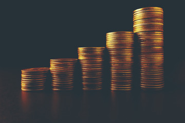 Pictures of gold coins stacked in rows. Sort up higher. Ideas about the financial benefits of a business.