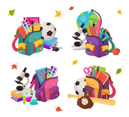 Back to school. Collection of colorful school backpacks compositions. Schoolbags full of study supplies isolated on white background. Vector illustration.