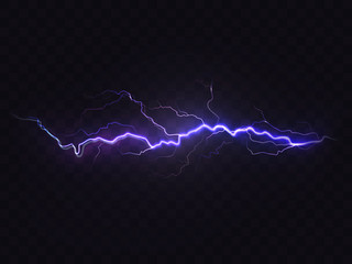 Vector realistic lightning isolated on black background. Natural light effect, bright glowing. Magic purple thunderstorm, design element