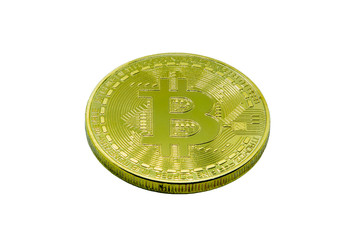 Yellow coin bitcoin. Isolated on white background. To create concepts on the growth or fall of crypto currency bitcoin. Crypto currency close-up. Bitcoin in detail.