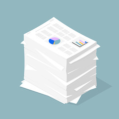 Isometric Vector Document Stack.