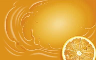 Orange juice slice and orange splash with many juice drops