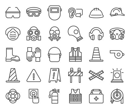 protective equipment and firefighter  outline icon