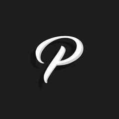 Vector Handwritten Logo Letter P