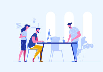 Vector concept of creative teamwork building bisiness online in one openspace. Sturtup work.Meeting business people. Discussion of the company's business strategy. Vector illustration in a flat style Wall mural