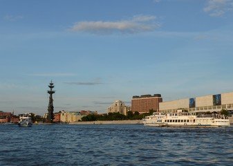 Pleasure boats on the Moskva River.