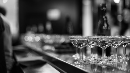 champagne glasses party evening black and white