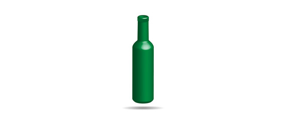 Realistic Detailed Green Glass Beer Bottle
