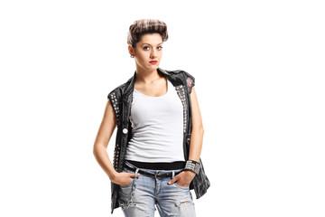 Punk girl looking at the camera