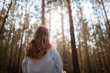 back girl forest