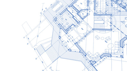 Architecture design: blueprint plan - illustration of a plan modern residential building /...