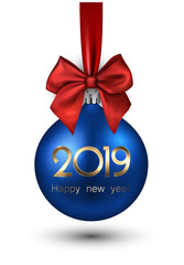 Blue 2019 New Year Christmas ball with red satin bow.